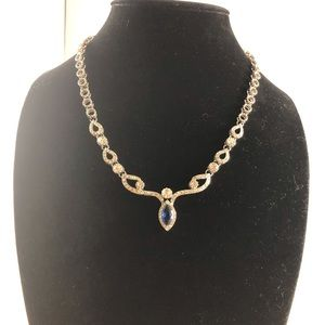 Kfvanfi Brand Silver tone and Crystal Necklace